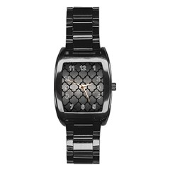 Tile1 Black Marble & Gray Metal 1 (r) Stainless Steel Barrel Watch