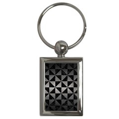 Triangle1 Black Marble & Gray Metal 1 Key Chains (rectangle)
