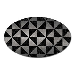 Triangle1 Black Marble & Gray Metal 1 Oval Magnet