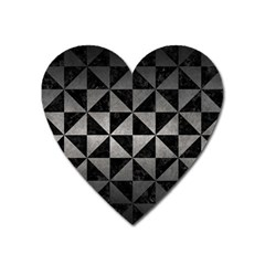 Triangle1 Black Marble & Gray Metal 1 Heart Magnet