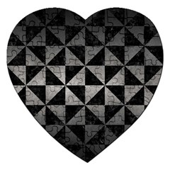Triangle1 Black Marble & Gray Metal 1 Jigsaw Puzzle (heart)
