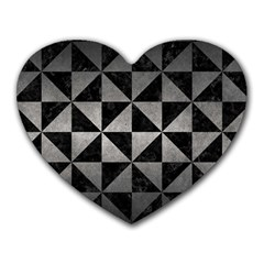 Triangle1 Black Marble & Gray Metal 1 Heart Mousepads