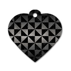 Triangle1 Black Marble & Gray Metal 1 Dog Tag Heart (two Sides)