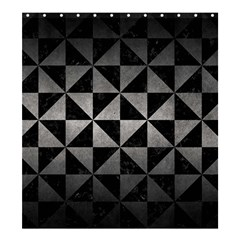Triangle1 Black Marble & Gray Metal 1 Shower Curtain 66  X 72  (large)
