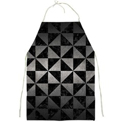 Triangle1 Black Marble & Gray Metal 1 Full Print Aprons