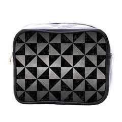 Triangle1 Black Marble & Gray Metal 1 Mini Toiletries Bags