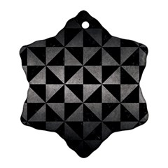 Triangle1 Black Marble & Gray Metal 1 Snowflake Ornament (two Sides)