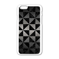 Triangle1 Black Marble & Gray Metal 1 Apple Iphone 6/6s White Enamel Case