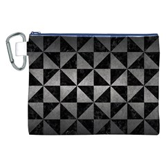 Triangle1 Black Marble & Gray Metal 1 Canvas Cosmetic Bag (xxl)