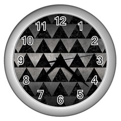 Triangle2 Black Marble & Gray Metal 1 Wall Clocks (silver)