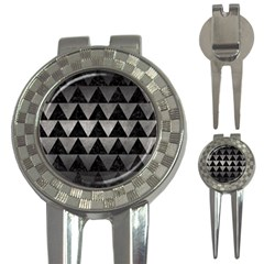 Triangle2 Black Marble & Gray Metal 1 3 In 1 Golf Divots
