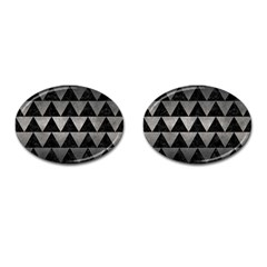 Triangle2 Black Marble & Gray Metal 1 Cufflinks (oval)