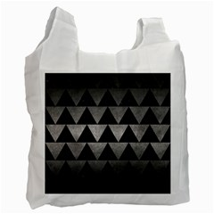 Triangle2 Black Marble & Gray Metal 1 Recycle Bag (one Side)