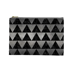 Triangle2 Black Marble & Gray Metal 1 Cosmetic Bag (large)