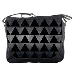 Triangle2 Black Marble & Gray Metal 1 Messenger Bags