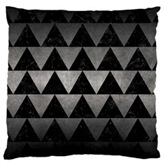 Triangle2 Black Marble & Gray Metal 1 Large Cushion Case (one Side)
