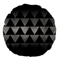 Triangle2 Black Marble & Gray Metal 1 Large 18  Premium Round Cushions