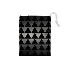 Triangle2 Black Marble & Gray Metal 1 Drawstring Pouches (small)