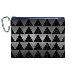 Triangle2 Black Marble & Gray Metal 1 Canvas Cosmetic Bag (xl)
