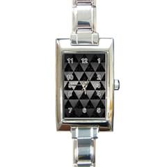 Triangle3 Black Marble & Gray Metal 1 Rectangle Italian Charm Watch