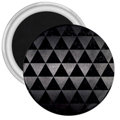 Triangle3 Black Marble & Gray Metal 1 3  Magnets