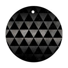 Triangle3 Black Marble & Gray Metal 1 Ornament (round)