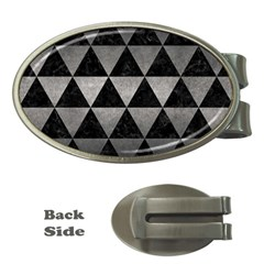 Triangle3 Black Marble & Gray Metal 1 Money Clips (oval)