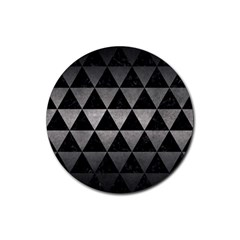 Triangle3 Black Marble & Gray Metal 1 Rubber Round Coaster (4 Pack)