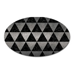 Triangle3 Black Marble & Gray Metal 1 Oval Magnet