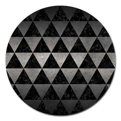 Triangle3 Black Marble & Gray Metal 1 Magnet 5  (round)