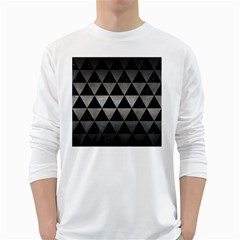 Triangle3 Black Marble & Gray Metal 1 White Long Sleeve T Shirts