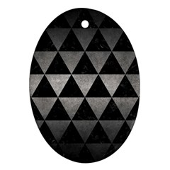 Triangle3 Black Marble & Gray Metal 1 Oval Ornament (two Sides)