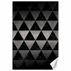 Triangle3 Black Marble & Gray Metal 1 Canvas 24  X 36