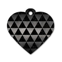 Triangle3 Black Marble & Gray Metal 1 Dog Tag Heart (one Side)