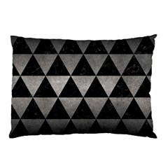 Triangle3 Black Marble & Gray Metal 1 Pillow Case