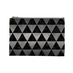 Triangle3 Black Marble & Gray Metal 1 Cosmetic Bag (large)