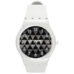 Triangle3 Black Marble & Gray Metal 1 Round Plastic Sport Watch (m)