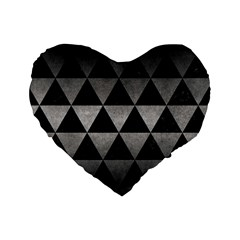 Triangle3 Black Marble & Gray Metal 1 Standard 16  Premium Heart Shape Cushions