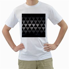 Triangle3 Black Marble & Gray Metal 1 Men s T Shirt (white)
