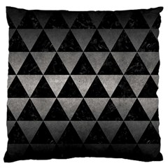 Triangle3 Black Marble & Gray Metal 1 Large Flano Cushion Case (two Sides)