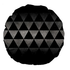 Triangle3 Black Marble & Gray Metal 1 Large 18  Premium Flano Round Cushions