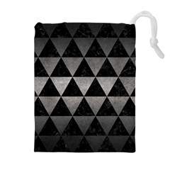 Triangle3 Black Marble & Gray Metal 1 Drawstring Pouches (extra Large)