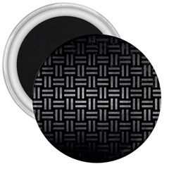 Woven1 Black Marble & Gray Metal 1 3  Magnets