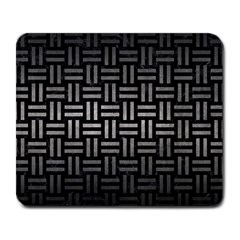 Woven1 Black Marble & Gray Metal 1 Large Mousepads