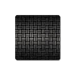 Woven1 Black Marble & Gray Metal 1 Square Magnet