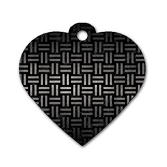 Woven1 Black Marble & Gray Metal 1 Dog Tag Heart (two Sides)