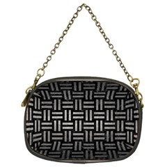 Woven1 Black Marble & Gray Metal 1 Chain Purses (two Sides)