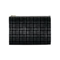 Woven1 Black Marble & Gray Metal 1 Cosmetic Bag (medium)