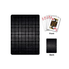 Woven1 Black Marble & Gray Metal 1 Playing Cards (mini)