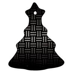 Woven1 Black Marble & Gray Metal 1 Ornament (christmas Tree)